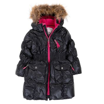 Deux Par Deux Fluffy Puffy Girls Long Coat Black With Fur Trim Size 3 to 12 Years