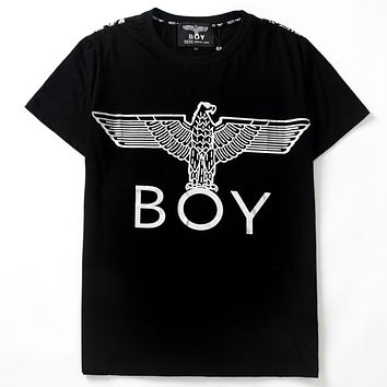 BOY LONDON 2019 new hot stamping eagle printed round neck half sleeve t-shirt