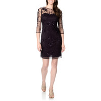 Patra Women's Plum Hand-beaded Vine Embroidered Dress