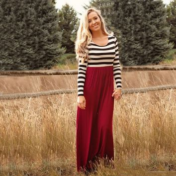 Black And White Striped Maxi Dress 11781