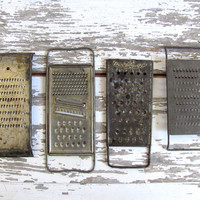 Vintage Metal Farmhouse Food Slaw Graters ... Set of 4 / kitchen decor