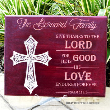 Personalized Christian Family Last Name Engraved Wood Sign //  Bible Verse Psalm 118:1 // Wall Art Decal