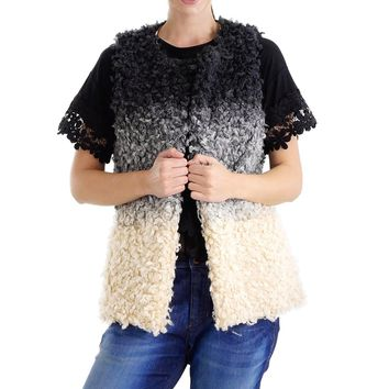 Sheep Faux Fur Ombre Open Vest