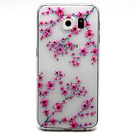 Ultra Thin Transparent Silicone Phone Case for Samsung Galaxy S6 (Cherry Blossom)
