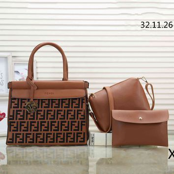 Fendi Tide brand retro double F embossed letters women's handbag Messenger bag three-piece brown