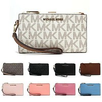 New Michael Kors Double Zip Phone Wallet, Wristlet, Jet Set, Travel