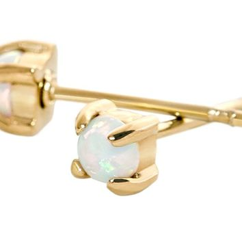 Stud Earrings Opal 14k Gold Dipped 6mm or 3mm Tiny White Opal Womens Stainless Pair by Benevolence LA …