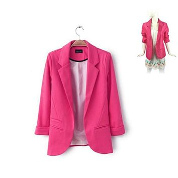 Hot Women Casual Slim Suit Blazer Jacket Coat 3/4 Sleeve Outwear Business Blazer