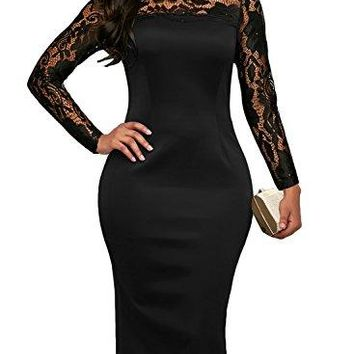 Sidefeel Women High Neck Floral Lace Long Sleeve Club Bodycon Midi Dress