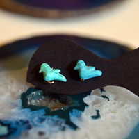 Turquoise Bird Stud Earrings Handcarved turquoise by bijoufish