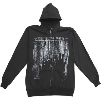 Pianos Become The Teeth Men's  Hands Zippered Hooded Sweatshirt Black Rockabilia