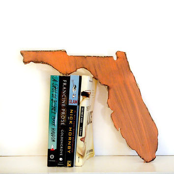 Florida State (Pictured in Coral) Pine Wood Sign Wall Decor Rustic Americana French Country Chic