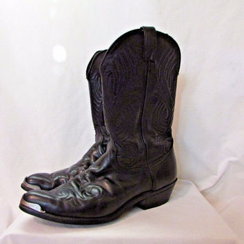 Men's Laredo Cowboy Boots Size 12 D Silver Tips Black Leather Western Vintage