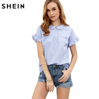 Ladies Tops Blue Blouses in Women Blue Striped Peter Pan Collar Short Sleeve Blouse Women Casual Blouses