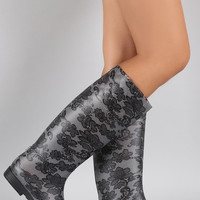 Bamboo Floral Lace Embossed Quilted Pattern Jelly Rain Boots