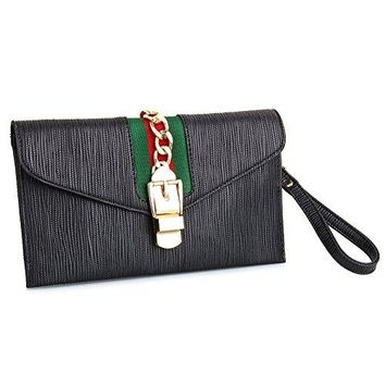 SSMY Designer Evening Envelope Clutch Bags Wristlet Purse Cross Body Bag with Adjustable Strap