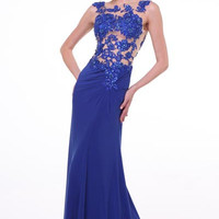 PRIMA 17-9005 Lace Applique Sheer Top Prom Dress