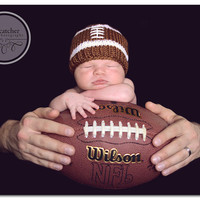 On Sale Lil Football Baby Hat Beanie               Newborn Baby Photo Prop          Originally Designed and Made by me