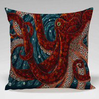 octopus mozaic red design Square Pillow Case Custom Zippered Pillow Case one side and two side