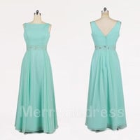 Beads Mint Bateau V Back Long A-Line Bridesmaid Celebrity Dress, Floor Length Chiffon Formal Evening Party Prom Dress New Homecoming Dress