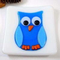Fused Glass Plate Dish, Blue Owl on White Background, 5 inch square