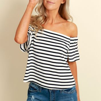 Navy It's Striped Crop Top White/Navy