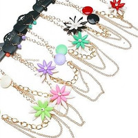 The Sassy Multi Chain Flower Necklace and Earring Set in Different Colors
