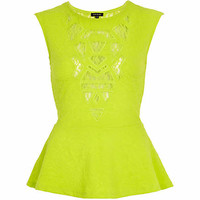 Lime jacquard sheer panel peplum top