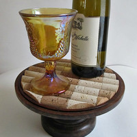 OOAK Wine Cork Pedestal Stand -Trivet, Tray, Coaster, Candle Holder - Entertaining, Home Decor