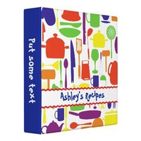 Kitchen tools and utensils colourful recipe vinyl binders from Zazzle.com