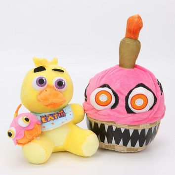 2pcs/set  Plush Toy  At  Plush Freddy Fazbear Chica Cupcake Stuffed Doll Toys Sister Location Cup Cake