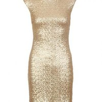 Gold Sequin Bodycon Shift Dress with V-Back & Cap Sleeves