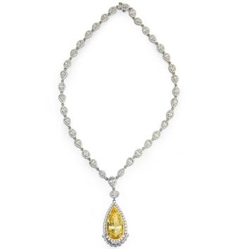 Lafonn Simulated Canary Yellow Pear Cut Diamond Necklace