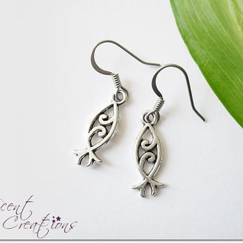 Small fish dangle earrings, Christian fish silver earrings, ichthys earrings, religious faith symbol jewelry, girl confirmation gift