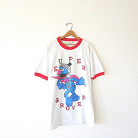 Vintage 80's Super Grover SESAME STREET Jim Henson Superhero Oversized Raglan Nightgown Sleep T-Shirt Sz XL