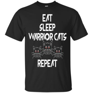 Eat Sleep Warrior Cats Repeat Cat Lovers Funny T-Shirts