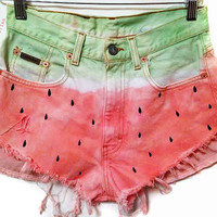 Watermelon Shorts High Waisted Shorts Women's Clothing Hipster Style Coachella Festival Wear