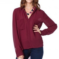 Chambers Blouse in Cabernet - ShopSosie.com