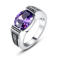 Stainless Steel Vintage Oval Purple Cubic Zirconia Ring