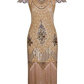 Women's 1920s Vintage Gatsby Art Deco Sequin Beaded V Neck Long Cocktail Flapper Dress With Sleeves