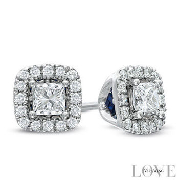 Vera Wang LOVE Collection 3/4 CT. T.W. Princess-Cut Diamond Frame Stud Earrings in 14K White Gold - View All Earrings - Zales