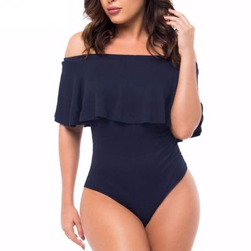 Off Shoulder Ruffle One Piece Large Size Thong Bathing Suits
