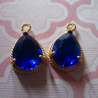 2 pieces, Glass Pendant Charm, Sapphire Blue, 17.5x12 mm, Silver Plated Brass Bezel, Wholesale Bridal Jewelry Supplies GP3.S