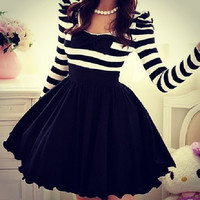 Striped chiffon bow dress
