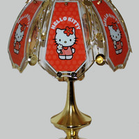 Hello Kitty Polished Brass Finish 3 Way Touch Lamp w/ Glass Panel Shade