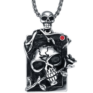 Stainless Steel Gothic Demon Skull and Rose  W. Red Crystal Pendant Necklace