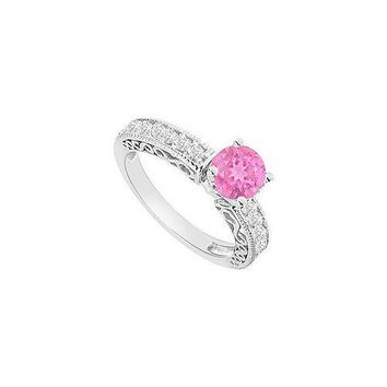 14K White Gold : Pink Sapphire and Diamond Engagement Ring 1.00 CT TGW