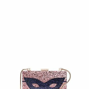 dress the part glitter mask clutch
