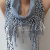 Light Grey  - Lightweight Summer Scarf with Trim Edge