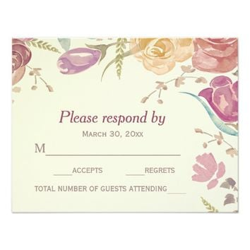 Colorful Garden Roses | Wedding RSVP Card